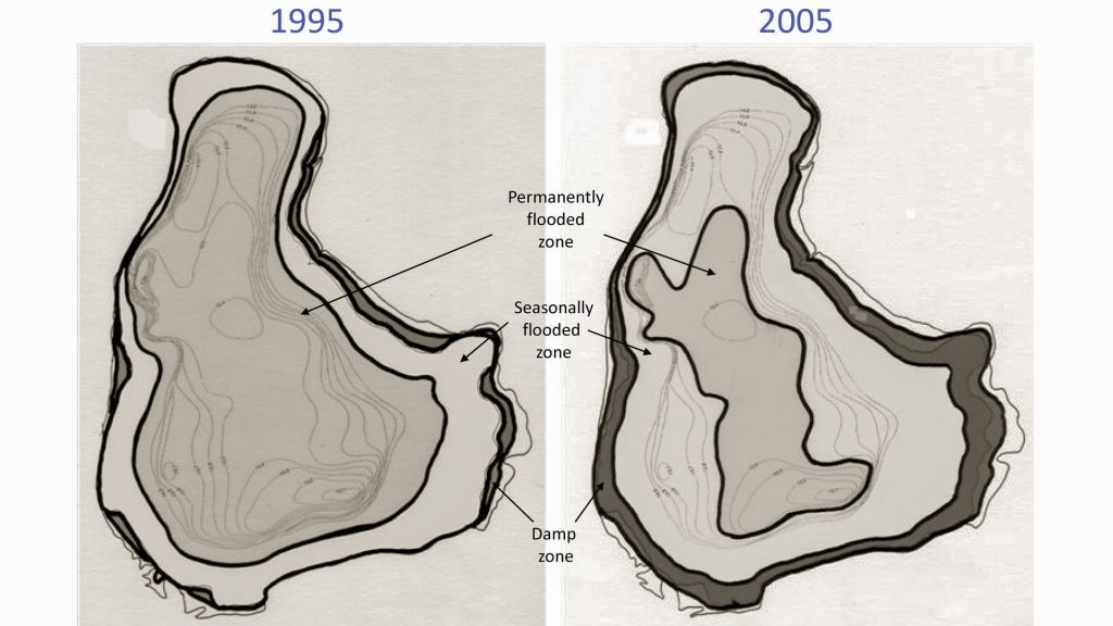 Comparisson of flooded zones of Bibra Lake from 1995 to 2005